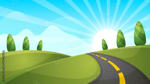Foto op Canvas Lichtblauw Cartoon landscape illustration. Sun. cloud hill Vector eps 10