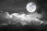 Dramatic atmosphere panorama view of beautiful sky and clouds in black and white.Element of Full moon image furnished by NASA.