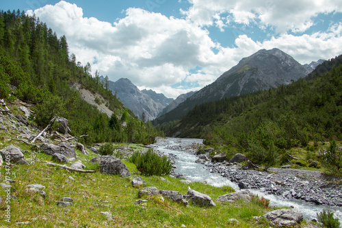 Fotobehang Bergrivier River in Swiss Alps during a hiking day in Summer in Engadin, Switzerland