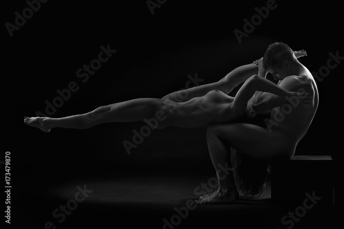 Nude sexy couple, naked man and woman on black