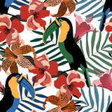 Tropical seamless pattern with cute toucans,flowers and leafs.Colorful vector summer background.Textile texture
