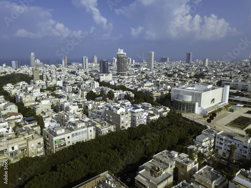 Foto op Canvas Parijs central Tel Aviv, Habima Theatre, Heihal Hatarbut, National Theatr, edge of Rothschild blvd, Building surrounding
