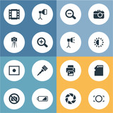 Vector Illustration Set Of Simple Photography Icons. Elements Movable Camcorder, Inkjet, Registration And Other Synonyms Camera, Zoom And Memory. - 173484498