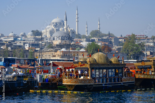 View of Istanbul with boats in the foreground and Suleymaniye Camii (Mosque) Poster