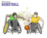 Hand drawn illustration. Wheelchair Basketball. Vector sketch sport. Graphic figure of disabled athletes with a ball. Active people. Recreation lifestyle. Handicapped people. - 173492099