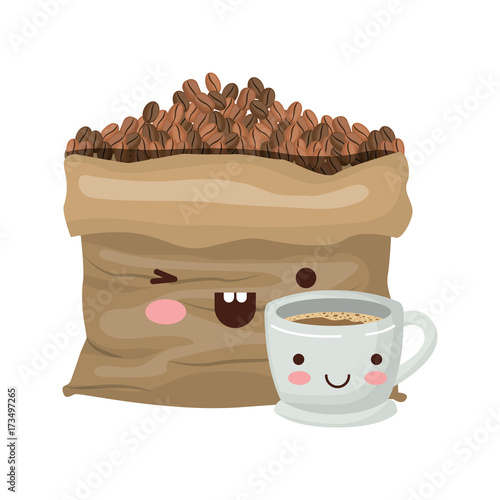 bag with beans and cup of coffee colorful kawaii silhouette vector illustration - 173497265