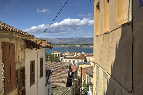 City view from a street at the top of Nafplio