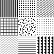 Set of monochrome seamless pattern in memphis style. Black geometric shapes on white background.