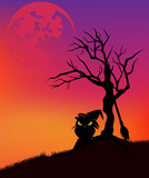 halloween vector background with black cat wearing witch hat, dead tree and huge moon in sunset sky
