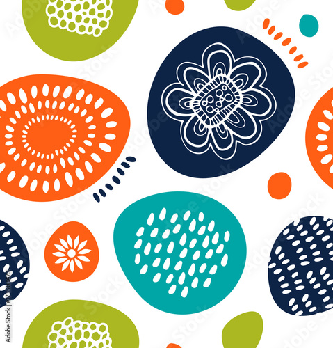 Cute decorative pattern in Scandinavian style. Abstract background with colorful simple shapes © silmen