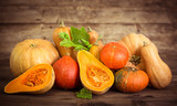 Fresh and colorful pumpkins and squashes  - 173510245