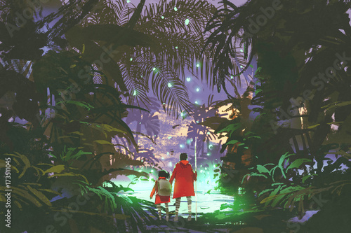 man and little girl looking at the glowing green swamp in fantasy forest, digital art style, illustration painting