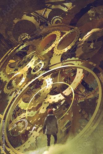 man standing in front of the big golden clockwork, digital art style, illustration painting © grandfailure