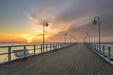 wooden pier on the Baltic Sea, Gdynia Orlowo, Poland