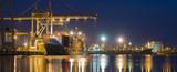seaport at night, panorama