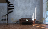 The interior design of loft living room and concrete wall texture and spiral stair and sea view - 173526886