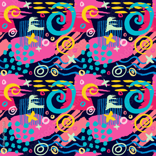 Deurstickers Graffiti Creative Seamless pattern.