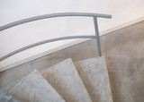 Detail of a modern stair, Functionalist interior staircase, Staircase with banister in minimalist style, Symbol of staircase, Stair house, Modern stairway in hous