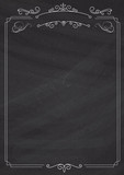 Ornamental retro border and blackboard textured background - 173540056