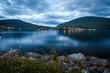 Hafslovatnet lake at night with city reflection
