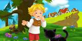 cartoon scene with traveler near the village talking to cat - illustration for children