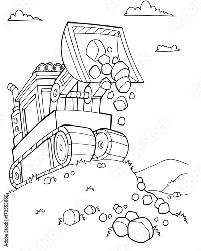 In de dag Cartoon draw Cute Bulldozer Construction Vector Illustration Art