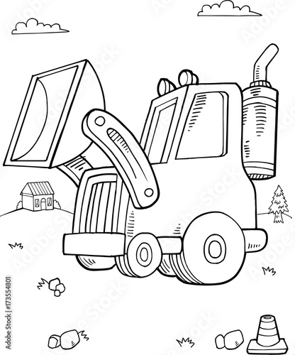 Fotobehang Cartoon draw Cute Digger Construction Vector Illustration Art