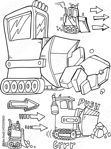 Fotobehang Cartoon draw Bulldozer Construction Vector Illustration Art