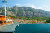 beautiful view with yacht of town Makarska, Dalmatia, Croatia - 173563460