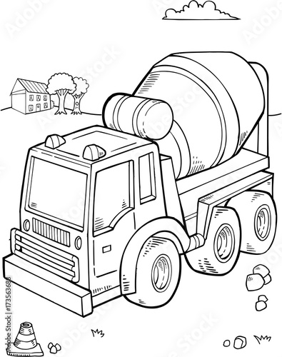 Fotobehang Cartoon draw Construction Truck Vector Illustration Art