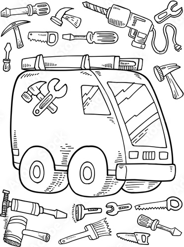 In de dag Cartoon draw Work Truck Construction Vector Illustration Art