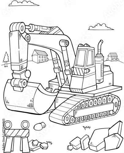 Foto op Canvas Cartoon draw Big Digger Construction Vector illustration Art