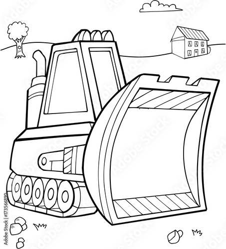 Fotobehang Cartoon draw Cute Bulldozer Construction Vector Illustration Art