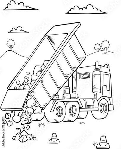 Foto op Plexiglas Cartoon draw Dump Truck Construction Vector Illustration Art