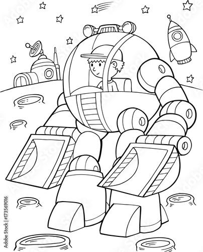 Aluminium Cartoon draw Construction Robot Vector Illustration Art