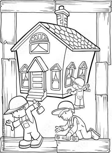 Papiers peints Cartoon draw Home Building Construction Vector Illustration Art