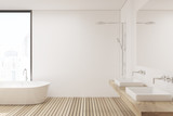 Wooden floor bathroom and shower, side - 173569624