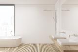 Wooden floor bathroom and shower, side