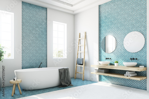 Blue and white bathroom, white tub side