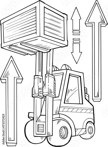 In de dag Cartoon draw Forklift Construction Vector Illustration Art