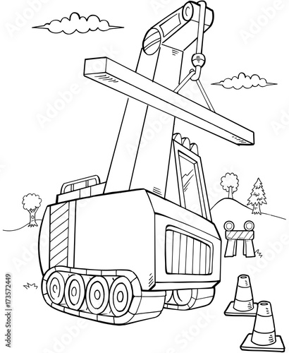 In de dag Cartoon draw Crane Construction Vector Illustration Art