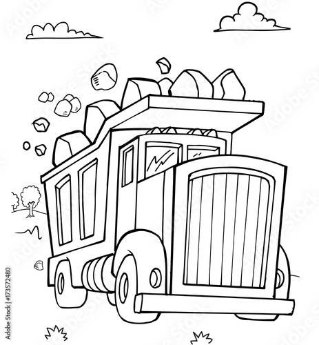Fotobehang Cartoon draw Dump Truck Construction Vector illustration Art