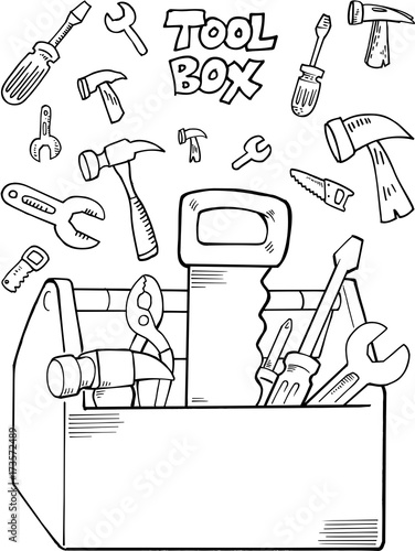 Fotobehang Cartoon draw Tool Set Construction Vector Illustration Art