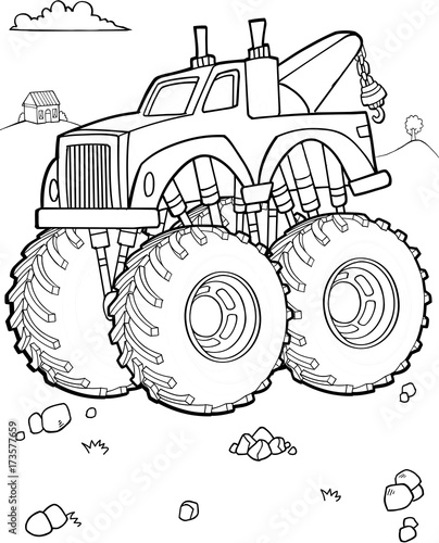 In de dag Cartoon draw Big Tow Truck Vector Illustration Art
