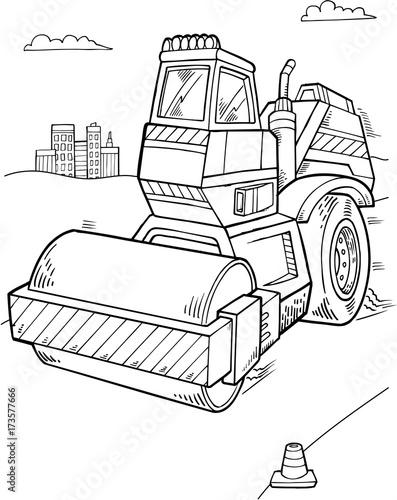 Aluminium Cartoon draw Cute Roller Construction Vector Illustration Art