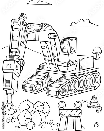 In de dag Cartoon draw Bulldozer Construction Vector Illustration Art