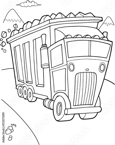 In de dag Cartoon draw Big Dump Truck Construction Vector Illustration Art