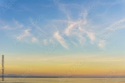 Foto op Plexiglas Landschappen background of small clouds in sunset sky over the ocean.