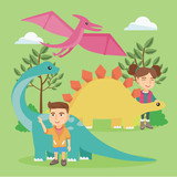 Caucasian preschool kids playing with dinosaurs outdoor. Little boy and girl learning about dinosaurs in the park. Cheerful children stroking dinosaurs. Vector cartoon illustration. Square layout.