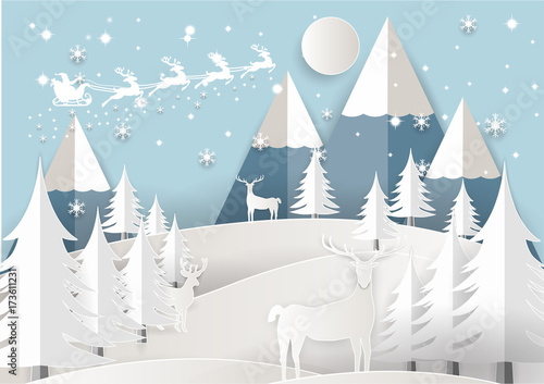 Aluminium Lichtblauw Vector Illustration of Santa Claus on the sky with snowflake, deer and tree, paper art and craft style